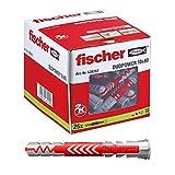 Fischer 538242 25 Tasselli Lunghi Duopower 10 x 80 mm Universali, per Il Fissaggio di Mensole, Pensili, Staffe Porta TV su Muro e Cartongesso, Grigio/Rosso, 10 x 80