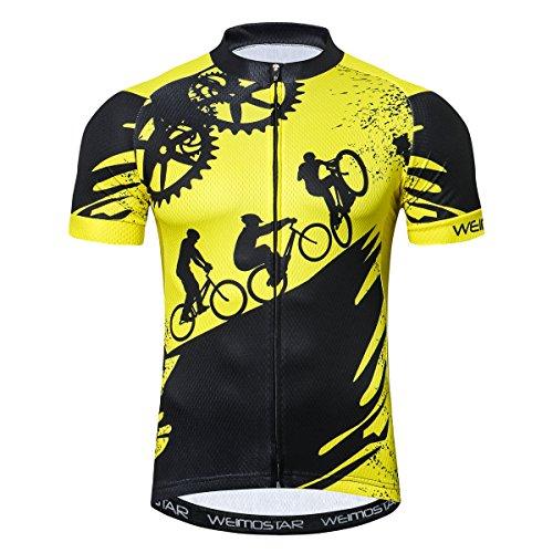 Weimostar - Maillot de ciclismo para hombre de manga corta con cremallera,...