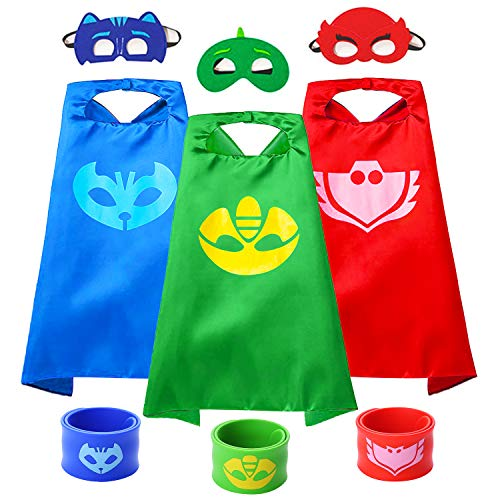 VOSOE Superhero Capes with Masks Cosplay Costumes Birthday Party Christmas Halloween Dress up Gift for Kids (Pj 3set with slap bracelet)