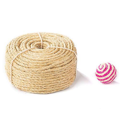 サイザルロープ 6mm Yangbaga 麻なわ麻紐ネコ爪とぎ爪を磨き キャットタワー 麻ロープ麻縄 キャットクライミングフレームの修理の代替品 麻縄 ボールが 含まれています サイザル麻ロープ 原色 20m