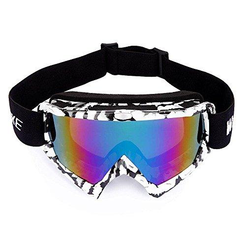 Wolfbike sci occhiali, tpu telaio moto occhiali singolo strato lente di snowboard, sovradimensionato OTG anti-nebbia UV 400 protezione per le donne uomini Signore e ragazzi, colore rosso