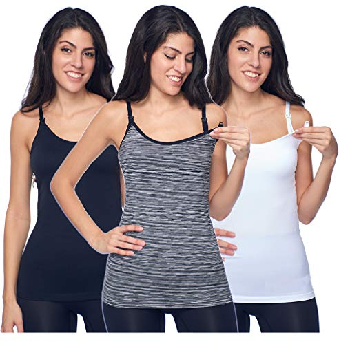 Maternity Nursing Cami Tank Tops for Breastfeeding 3 Pack - White|Black|Gray -Seamless with Built in Bra(Medium)