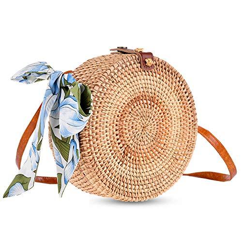 Rattan Bags for Women, Xmeng Straw Round Bali Ata Handbags Woven Circle Crossbody Wicker Purse Adjustable Strap Boho Bag