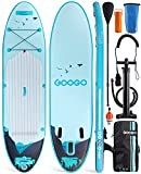 GOOGO Inflatable Paddle Board, 11'0'x32'x6' All-Around Inflatable Stand Up Paddle Board,Anti Air Leaking Design,Stable,Durable and Lightweight SUP with Complete Accessories & Carrying Backpack