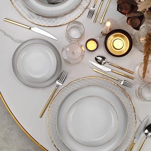 Kütahya Mood Gold Mesh - Vajilla de porcelana (24 piezas, para 6 personas)