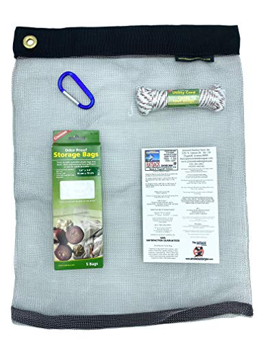 RATSACK Bundle - Ultralight Dry Bag for Backpacking- Bear Bag Food Storage for Camping- Backpacking Protection Mesh Bag from Critters- Coghlans Odor Proof and Waterproof Bag - Survival Rope (Large)