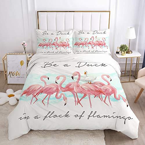 CQLXZ - Juego de ropa de cama de 3 piezas con estampado de Flamingo y funda de edredón de microfibra, cómodo conjunto de ropa de cama de dormitorio elegante clásico (220 x 240 cm)