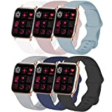 IYOU Sport Watch Band Compatible With Watch 38mm 40mm 42mm 44mm, Soft Silicone Bands Replacement Strap Compatible with Watch Series 5/4/3/2/1 S/M M/L (6PACK-B,38S)