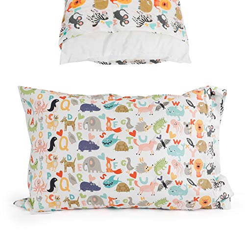 """Animal Print Toddler Pillow Organic Toddler Pillow & Pillowcase with 13""""X18"""" Pillow-Cute Printed Pillow,Soft, Breathable and Machine Washable,Ideal Gift for Boys and Girls on Bed (Cartoon)"""