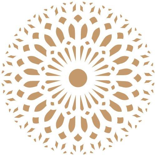 TODO STENCIL Deco Adamascado 083 Mandala, Medidas: Stencil 20 x 20 cm - Diseño 18 x 18 cm