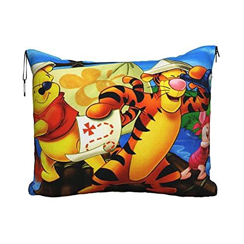 Anime de dibujos animados Winnie the Pooh deporte de remo Manta de viaje portátil de viaje 2 en 1 Manta de avión Cobijas Super Softs Cozy