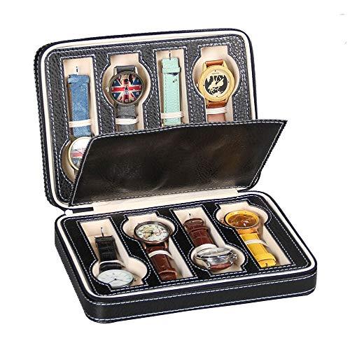 Travel Watch Storage Box 8 Griglie donne degli uomini orologio gioiello di immagazzinaggio dell'esposizione della scatola di caso di cuoio portatile cerniera vigilanza dell'esposizione Box Organizer P