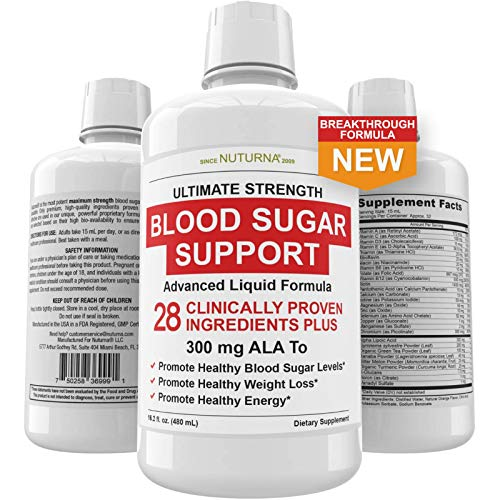 Blood Sugar Liquid Support & Immune Booster Formula - 28 Vitamin Minerals Herbs and 300 mg Alpha Lipoic Acid - Promotes Energy & Vitality - Healthy Body Weight and Nutritional Deficiencies Supplement