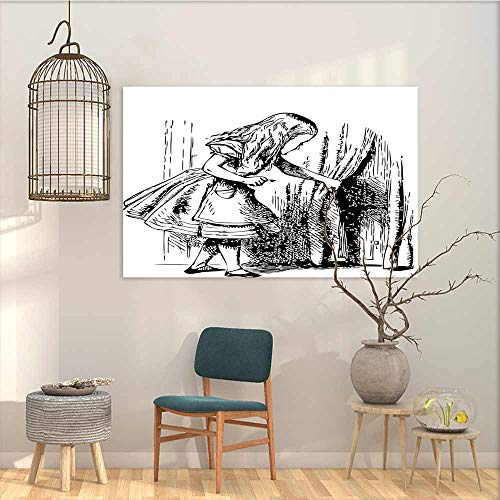 Graffiti Canvas Painting sticker Alice in Wonderland Black and White Alice Looking Through Curtains Hidden Door Adventure A for your relatives and friends Black White W19 xL15