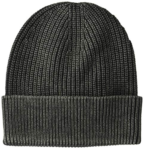 Goodthreads Men's Soft Cotton Washed Beanie, Black, one Size