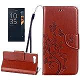 Cas de protection Yunchao Pour Sony Xperia X Compact Papillons Love Flowers Gaufrage Etui à rabat...
