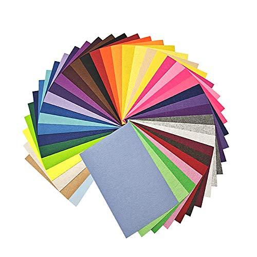 Hoja de Fieltro 40 Colores Tela de Fieltro Suave Felt Fabric para Manualidades Costura DIY Artesanía para Costura y Artesanías de Bricolaje
