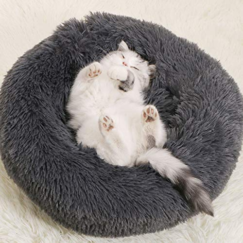 Beruhigendes Hundebett, groß, waschbar, Plüsch, Katzenbett, Donut-Kuschel, weiches Komfort-Hundebett, Kissen für mittelgroße, große und extragroße Hunde (dunkelgrau, 90 cm)
