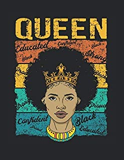 """Black Queen African American Pride Dashiki Melanin: College Ruled Notebook Paper and Diary to Write In / 120 Pages / 8.5""""x11"""""""