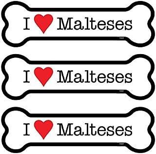 "SJT ENTERPRISES, INC. Malteses 3-Pack of 2 x 7"" Bone Shaped Car Magnets (SJT25424)"