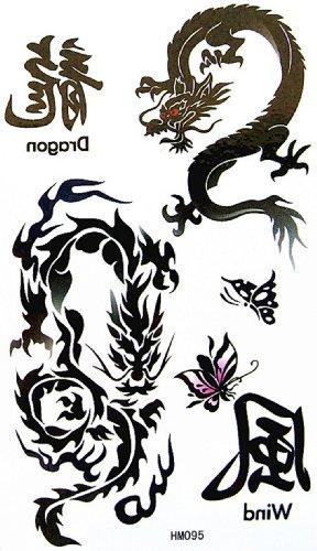 King Horse faux tatouage autocollant imperméable à l'eau mot de dragon totem