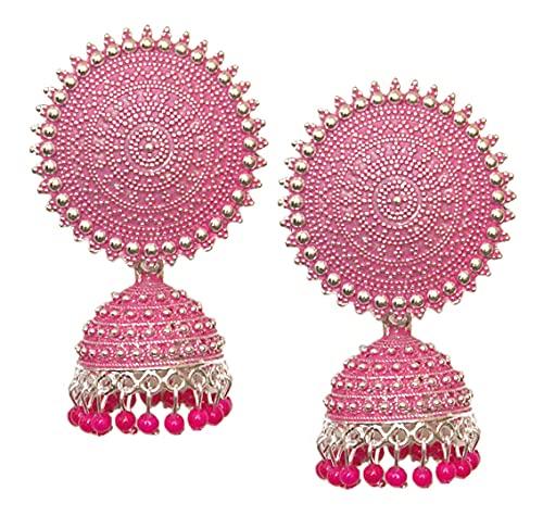 Pahal Jaipur - Pendientes redondos de plata Jhumka, diseño de perlas rosadas, diseño de bollywood indio, para mujer