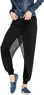 AvaCostume Womens Chiffon Layer Yoga Harem Pants Elastic Waist Workout Trousers