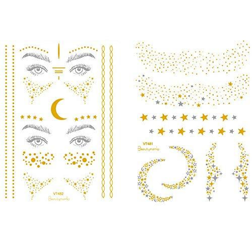 Tattoo Gesicht,Sommersprossen Flash Tattoos Gesichtstattoo Glitzer Gesicht Aufkleber für Weihnachtsgeschenk Mädchen und Junge Frauen für Augen Gesicht (2 Stück)