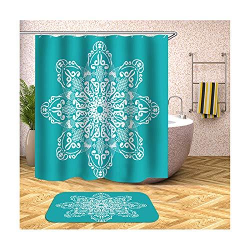 Anyeda Duschvorhang Fußmattensatz Polyester Vintage Blume Anti Schimmel V4 Grün Duschvorhang 150X200Cm Plus Bodenmatte 40X60CM