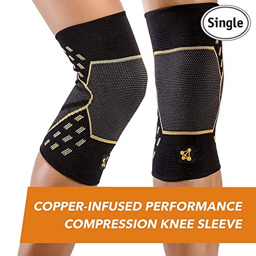 CopperJoint Performance Compression Knee Sleeve - Copper-Infused, Promotes Increased Blood Flow to The Knee, Provides Enhanced Compression and Support for Athletes - Single (Medium)