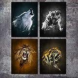 Surfilter Wolf Bear Lion Tiger Wall Art Canvas Pintura Nórdica Pósters e impresiones Animales salvajes Imágenes de pared para sala de estar decoración 30x40cm 12x16 pulgadas x4 Sin marco