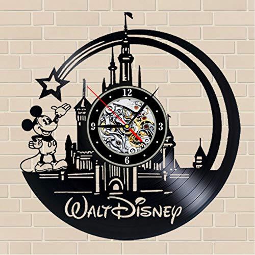 szhao 2019 New CD Vinyl Record Wall Clock Modern Cartoon Design Black Wall Watch Home Decor Clockfor Children Gifts