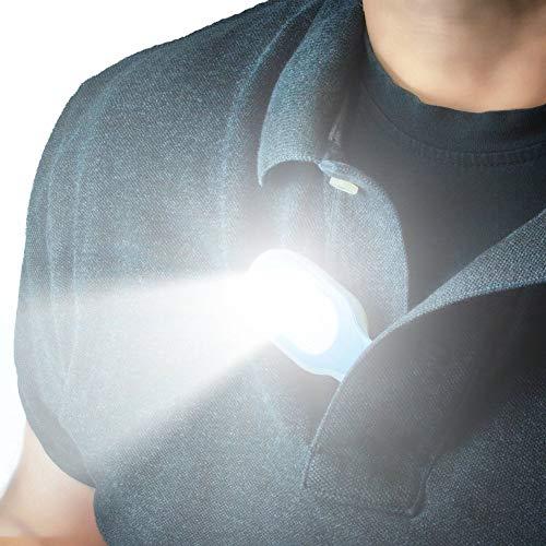 Bostar Linterna Manos Libres Linterna Portátil con Clip y Luces LED Se engancha a Superficies magnéticas de Prendas de Vestir.Luces de Seguridad, para Senderismo,pasear al Perro,Caminar Correr.Verde ⭐
