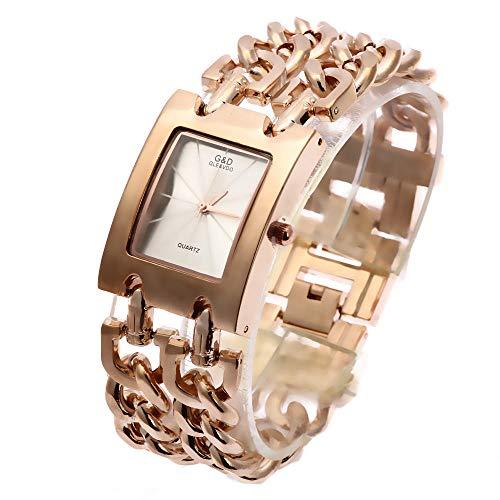 QWRjj Uhren Art- und Weisefrauen-Armbanduhr-Edelstahl-Elegante Damen-Armband-Quarz-Uhr-Goldkleid-Uhr Ladies-C_China