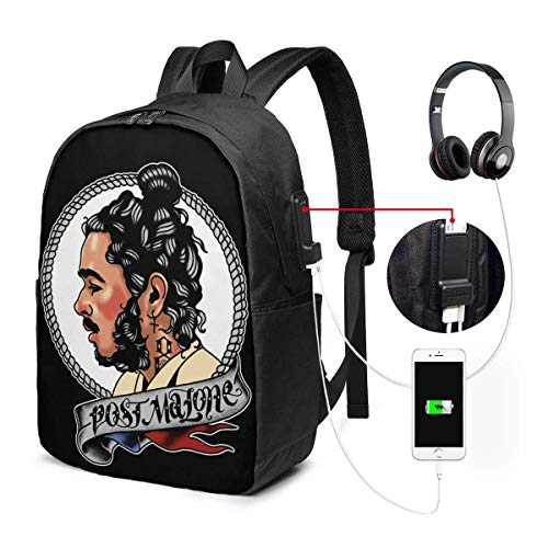 Lawenp Post-Malone Laptop Backpack 17 Inch College School Backpack with USB Charging Port Casual Daypack for Travel