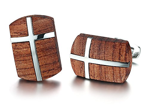 VNOX Herren Handgefertigte Edelstahl Koa Holz Hundemarke Anhänger Halskette Armband Schlüsselanhänger Manschettenknöpfe Hochglanz, Kostenlose Rolo Kette