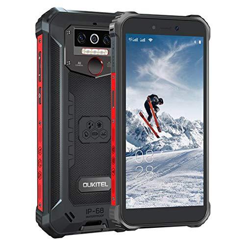 OUKITEL WP5pro-4G Outdoor Smartphone ohne Vertrag,5.5 Zoll 8000mAh Akku MTK6762 4GB + 64GB, IP68 Robustes Handy,Android 10.0,Triple Kamera,Gesichtserkennung (WP5pro-Schwarz)