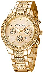 B-Gold Crystal Diamonds Calendar Quartz Watch with Stainless Steel Link Bracelet