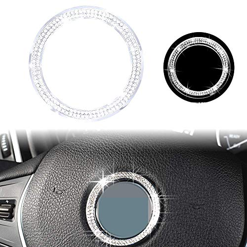 PGONE Bling Crystal Steering Wheel Logo Caps for BMW Accessories Parts Trim Covers Decal Sticker Interior Visors Women Decorations 3 4 5 Series X3 X5 E30 E36 E34 E39 F30 F34 F36 (Steering Wheel Logo)