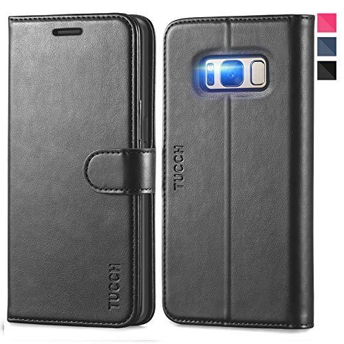 TUCCH Galaxy S8+ Plus Hülle, Handyhülle zum Klappen, Lifetime Garantie, TPU Schutzhülle Ständer, Lederhülle mit [3 Kartenfächer] Magnet, Case Handytasche Kompatibel für Galaxy S8 Plus (6,2) Schwarz