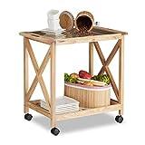 Relaxdays Küchenwagen Holz auf Rollen, 2 Etagen Servierwagen, Rollwagen mit Glasplatte, HxBxT: 63 x...