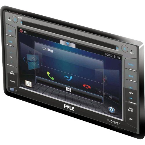 Pyle PLDNV65I 6.5-Inch Double DIN In-Dash Touch-Slide Screen LCD Monitor with DVD MP3 MP4 SD USB AM-FM Bluetooth and Built-In GPS TTS