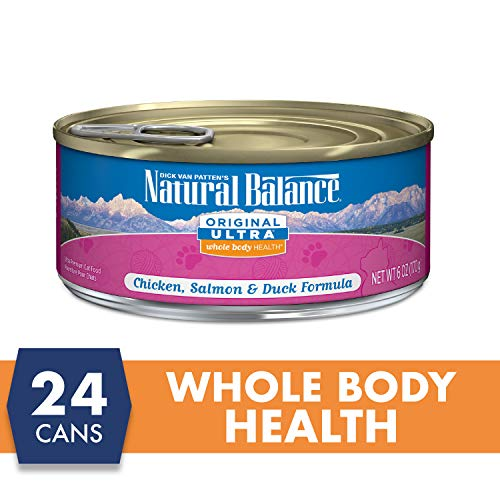Natural Balance Original Ultra Whole Body Health Chicken, Salmon & Duck Formula Wet Cat Food, 6-Ounce Can (Pack Of 24)