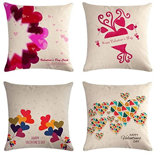 JOVEGSRVA Juego de 4 fundas de cojín de corazón coloridas con forma de corazón, impermeables, para patio, jardín, banco, sala de estar, sofá, decoración de 45 x 45 cm