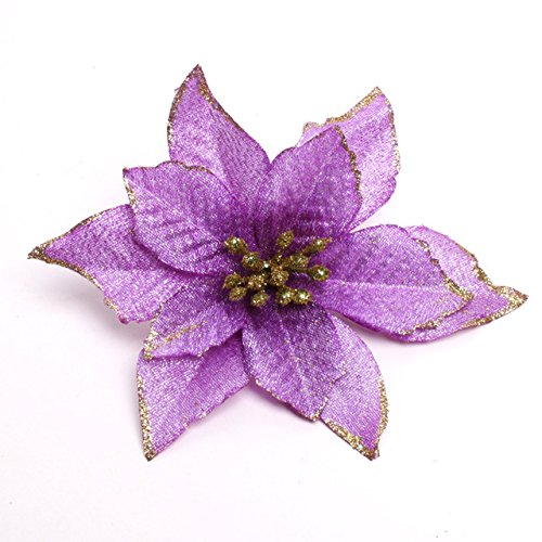 Zabrina 12 Pcs 13cm Christmas Tree Decorative Silk Flower Gold Poinsettia Bush and Red Poinsettia Bush Artificial Flowers Red Glitter Poinsettia Christmas Tree Ornaments (Purple)