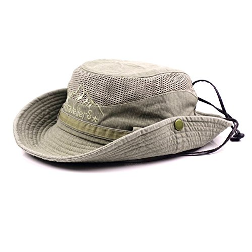 KeepSa Cappello da Sole Uomo Donna Protezione UV Cappelli Estivi in Cotone cap da Spiaggia Safari Boonie Coppola da Pesca Pieghevole con Rete Traspirante e Cinturino Regolab