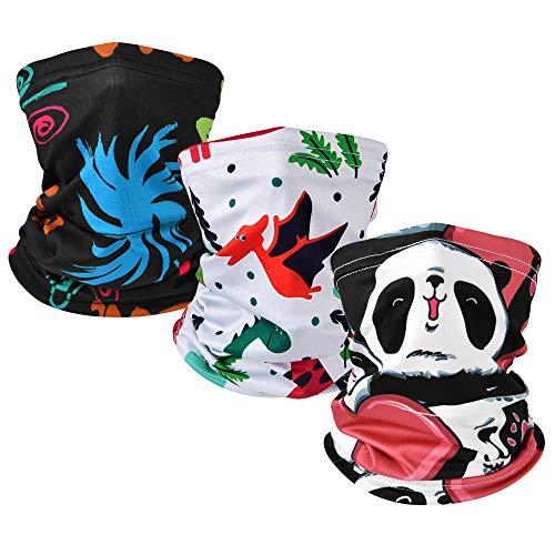 MCTi Kids Face Masks Neck Gaiter Sun UV Balaclava Bandana Mask Breathable for Girls Boys Cycling Fishing 3 Packed Colorful Dragon Panda