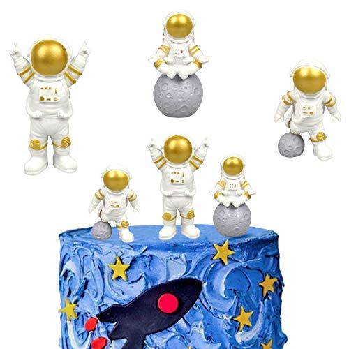 SUNSK Astronauten Figur Tortendeko Spaceman Kuchen Topper Astronauten Statuen Modell Spaceman Kuchenaufsätze Kinder Geburtstagstorte Dekoration Gold 3 Stück