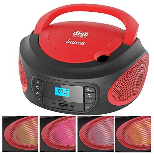 Lauson LLB996 Lettore CD/ MP3   Boombox CD Portatile   PLL Stereo Portatile, Lettore USB, Schermo LCD, CD Stereo Portatile Picolo con Luci che Cambiano Colore (Rosso)