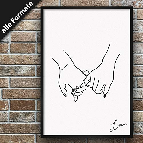 Papierschmiede Motiv-Poster Pinky Promise | 50x50 cm | Stilvolle Bilder als Wanddeko | Kunstdruck für den Bilderrahmen | Love Hands Liebe